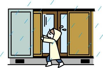 台風 雨戸